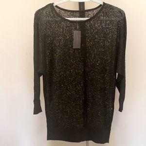 Suzy Shier Dolman Sleeve Black Sweater